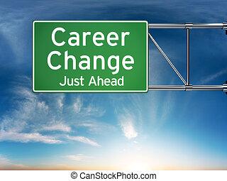juste, devant, changement, carrière, concept