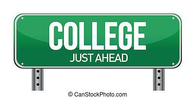juste, devant, signe, collège, vert, route