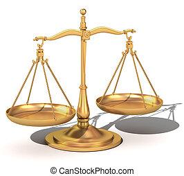 justice, équilibre, or, balances, 3d