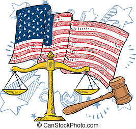justice, américain, vecteur