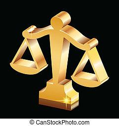 justice, doré, balances, brillant, icône