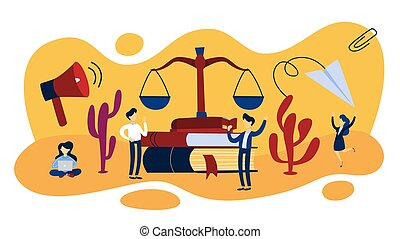 justice, droit & loi, concept, illustration, balances
