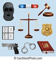 justice, droit & loi, ensemble, icônes