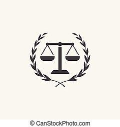 justice, droit & loi, icône, firme, couronne, laurier, balances, logo