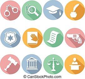 justice, droit & loi, légal, illustration, ensemble, icône, vecteur, jugement, plat