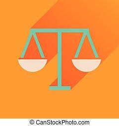 justice, icône, long, ombre, plat, balances