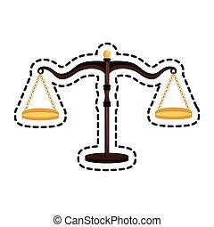 justice, isolé, balance équilibre, icône
