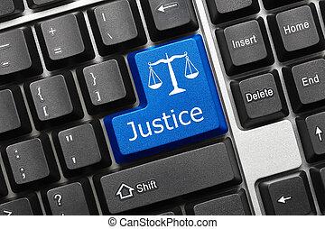 justice, -, key), clavier, conceptuel, (blue