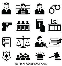justice, légal, tribunal, icônes