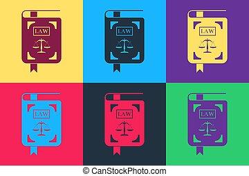 justice, livre, arrière-plan., isolé, droit & loi, icône, sauter art, vecteur, statut, couleur, balances