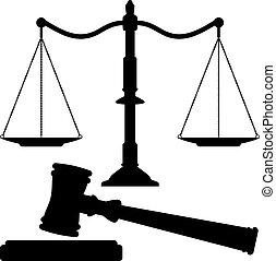 justice, marteau, vecteur, balances
