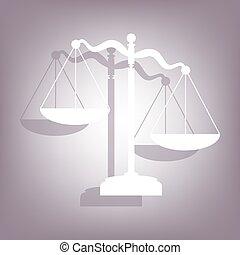 justice, ombre, icône, balances