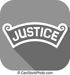 justice, plat, concept, icône