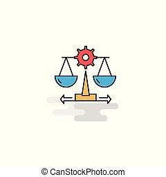 justice, plat, icon., vecteur
