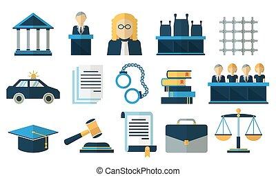 justice, plat, vecteur, droit & loi, icônes