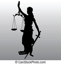 justice, silhouette, statue