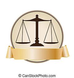 justice, symbole, échelle, ruban