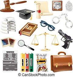 justice, symboles, collection, droit & loi, objets