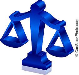 justice, vecteur, 3d, icône, balances