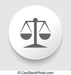 justice, vecteur, icône, balances