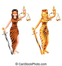 justice, vecteur, isolé, balances