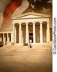 justice, ville, drapeau, droit & loi, tribunal