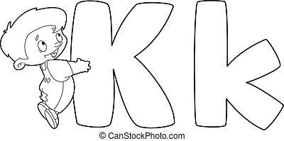 k, esquissé, lettre, gosse