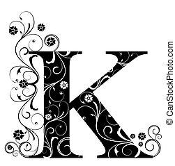 k, lettre, capital