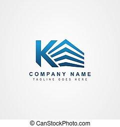 k, lettre, logo, ou, initiale, bâtiment., propriété, incorporated, inspiration., conception