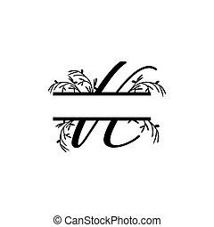 k, plante, initiale, vecteur, monogram, fente, lettre, décoratif