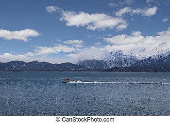 kachemak, bateau pêche, baie
