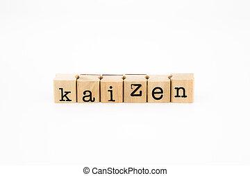 kaizen, isoler, fond blanc, rédaction