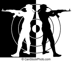 kalashnikov, tireur, fusil assaut