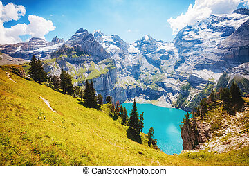 kandersteg., panorama, azur, alpes, suisse, lac, oeschinensee.