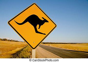 kangourou, australie, panneau avertissement