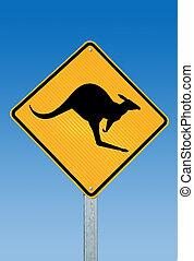 kangourou, panneau avertissement