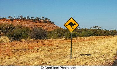kangourou, territoire, route, nord, signe