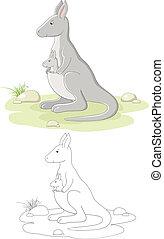 kangourou, vecteur, famille
