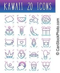 kawaii, étoiles, icône, ensemble, gradient, ligne, style