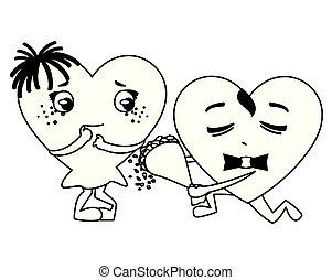 kawaii, bouquet, couple, roses, caractères, cœurs