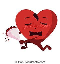 kawaii, coeur, bouquet, caractère, roses, mâle
