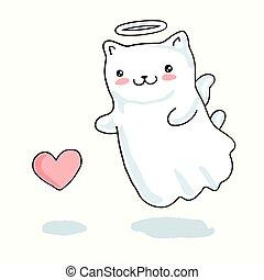 kawaii, coeur, petit ange, ailes, chat, japonaise, style, décrit, dessin animé, halo
