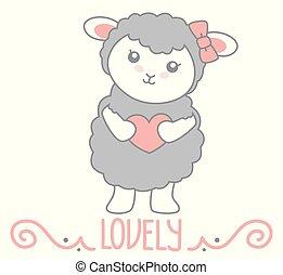 kawaii, gris, peu, vecteur, coeur, texte, isolé, illustration, debout, décoration, style, tenue, tourbillon, blanc, agréable, mouton