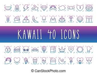 kawaii, icône, ensemble, étranger, gradient, ligne, style
