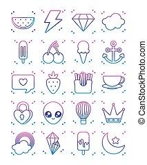 kawaii, icône, ensemble, gradient, café, ligne, grande tasse, style