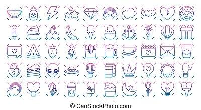 kawaii, icône, ensemble, gradient, tonnerre, ligne, style