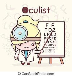kawaii, mignon, professions., alphabet, -, o, oculist., characters., lettre, chibi