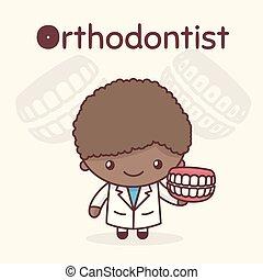 kawaii, mignon, professions., orthodontist., alphabet, -, o, characters., lettre, chibi