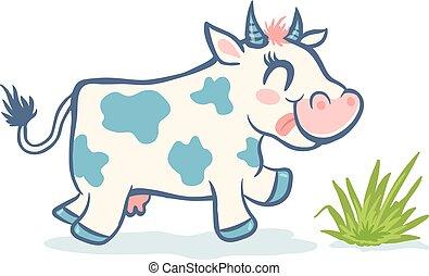 kawaii, mignon, style, vecteur, vache