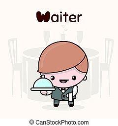 kawaii, mignon, waiter., lettre, professions., alphabet, -, characters., w, chibi